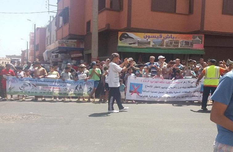 سكان لالة زهرة بالجديدة يجددون احتجاجهم على نصب لاقط هوائي فوق سطح أحد الأبنية