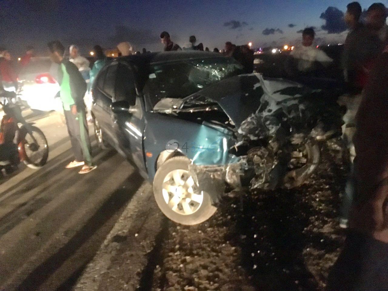 بالصور.. اصطدام 4 سيارات على الطريق الساحلي بين الجديدة و سيدي بوزيد