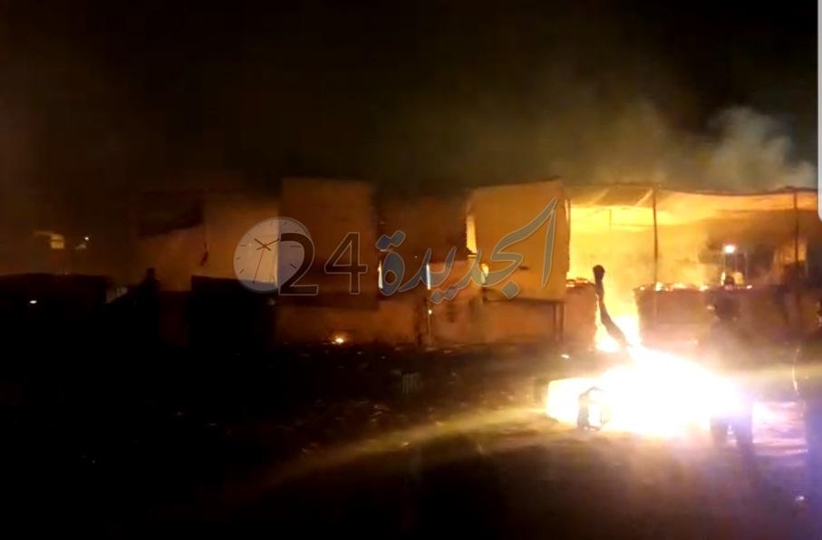 بالصور.. حريق مهول وانفجار 5 قنينات غاز في سوق ''أولاد افرج'' بإقليم الجديدة