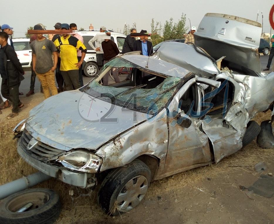 بالصور.. مصرع 4 أشخاص من عائلة واحدة في حادثة سير مفجعة بمدينة الزمامرة