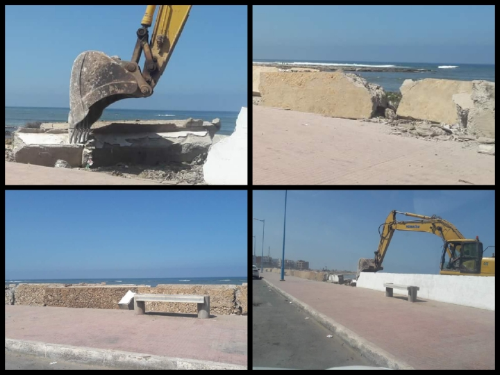 هدم جزء من سور شارع النصر لانجاز مشروع تهيئة الطريق الساحلية بين الجديدة وسيدي بوزيد