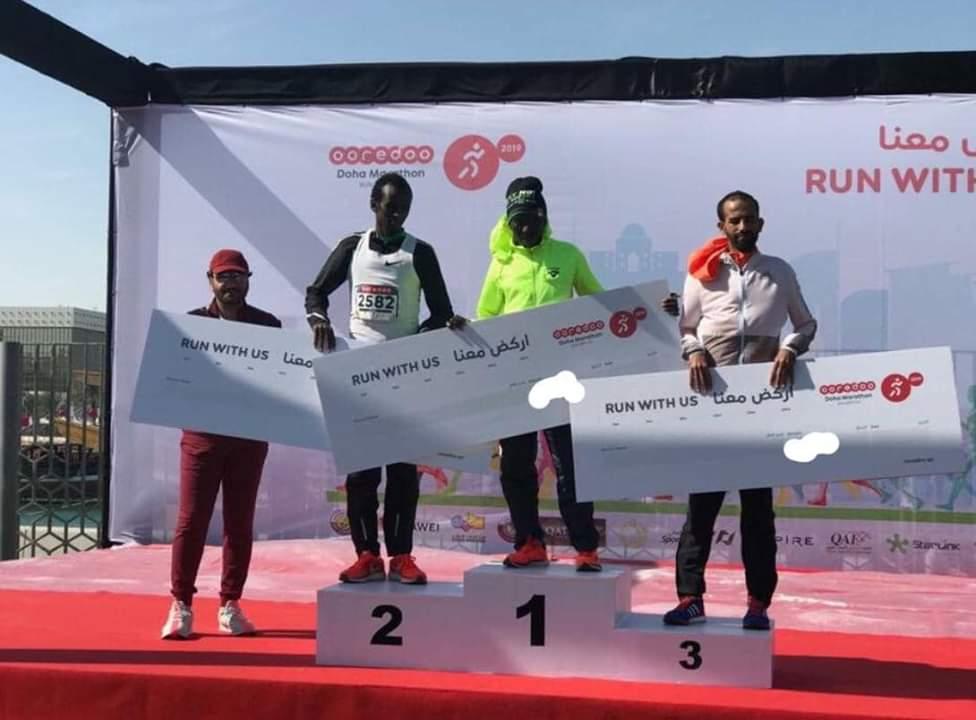 عداء من مدينة آزمور  يفوز  بالمركز الثالث في سباق نصف المارطون بالدوحة