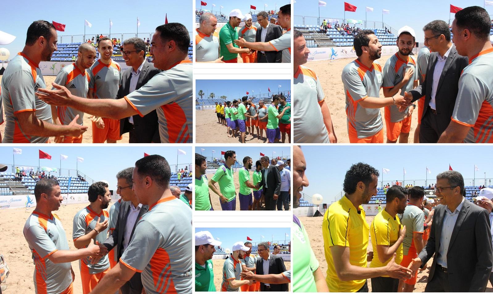 فريق الرابطة المغربية للصحافيين الرياضيين يواجه اولمبيك الجديدة في افتتاح دوري كرة القدم الشاطئية بالجديدة