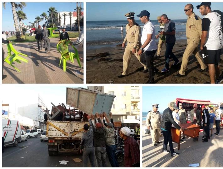 السلطات المحلية تشن حملة واسعة لتحرير الملك العام بشاطىء الجديدة ووسط المدينة