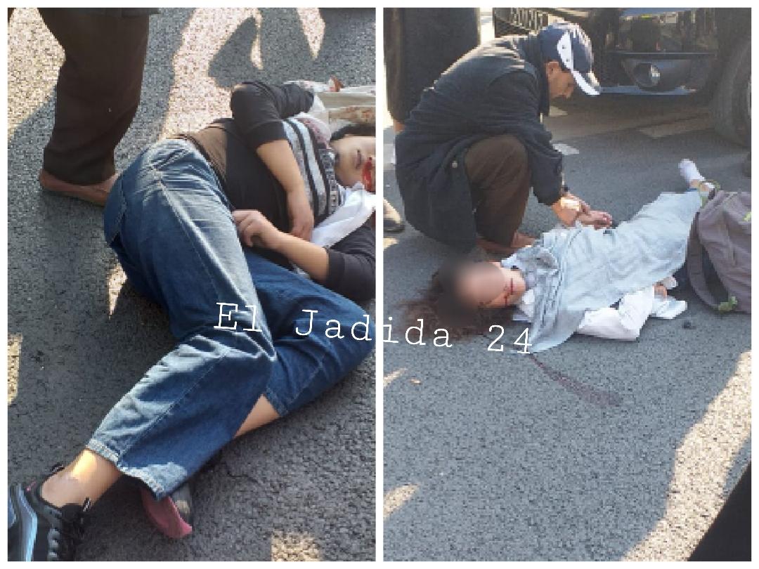 الجديدة 24 حادثة سير بشارع النخيل ترسل تلميذتين في حالة خطيرة