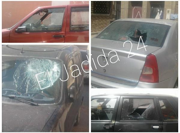 بالصور.. فتاة 'مقرقبة' تهشم 13 سيارة وتعيت فسادا في حي القلعة بالجديدة