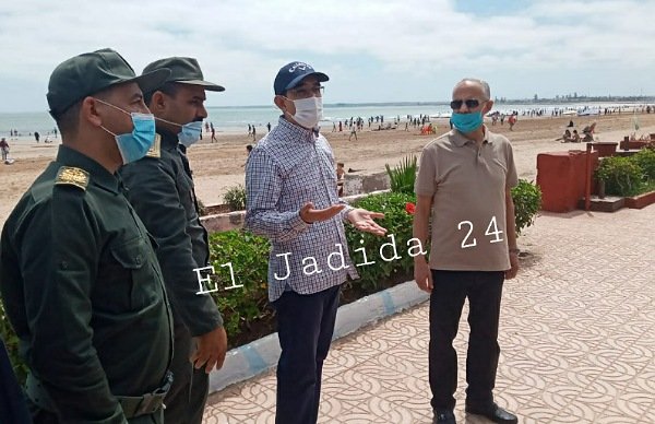 عامل الجديدة في زيارة تفقدية لشاطى و ميناء الجديدة بعد تخفيف الحجر الصحي