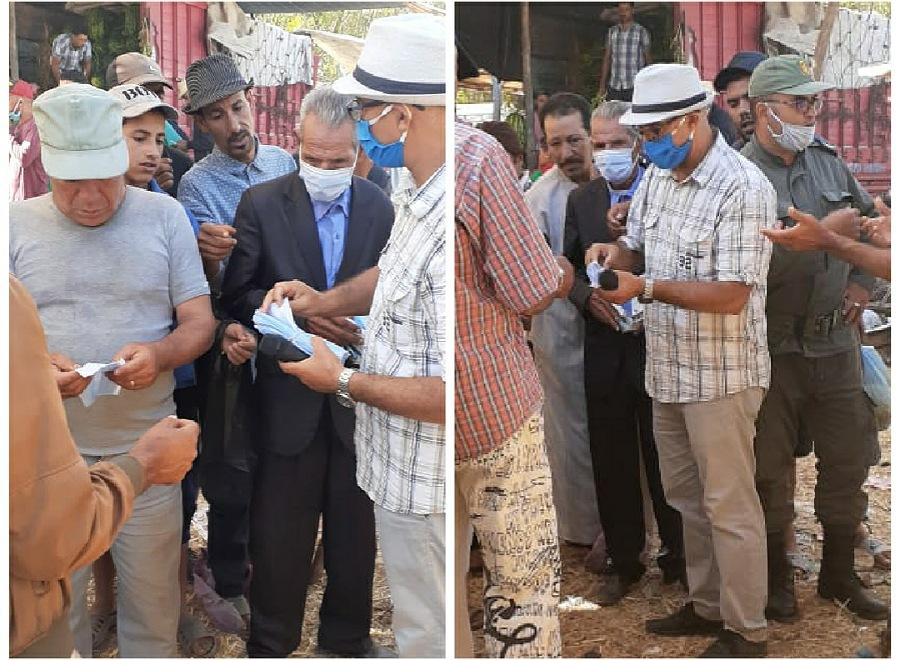 قيادة إثنين شتوكة تقود حملة للوقاية من وباء كورونا داخل الوسط القروي وتوزع كمامات على المواطنين
