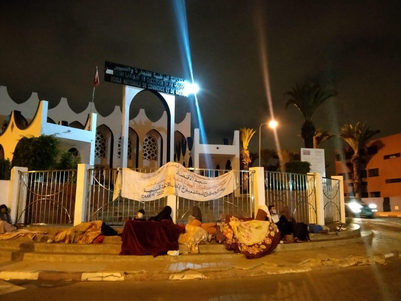 على هامش زيارة للطلبة المعتصمين أمام المدرسة الوطنية للتجارة والتسيير بالجديدة