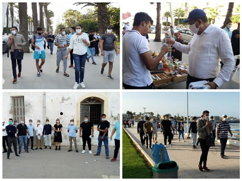 بالصور.. المنظمات المهنية للاحرار في حملة بشوارع الجديدة للتحسيس بمخاطر كوفيد 19