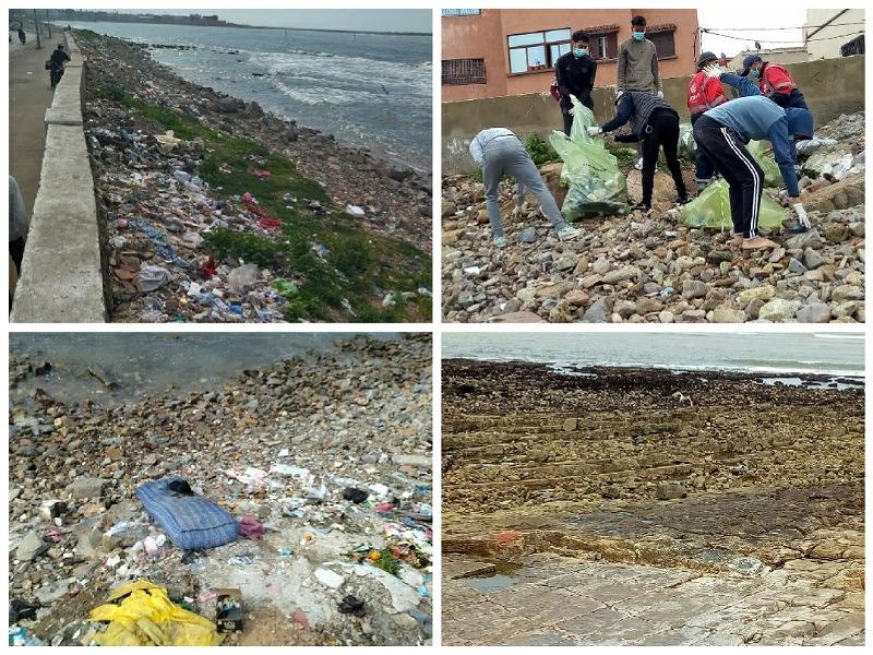 ''كوشطة نظيفة'' .. متطوعون شباب ينظمون حملة لتنظيف الشاطىء الصخري لمدينة الجديدة